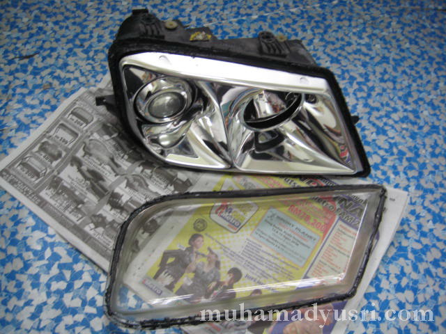 glass separated from headlamp